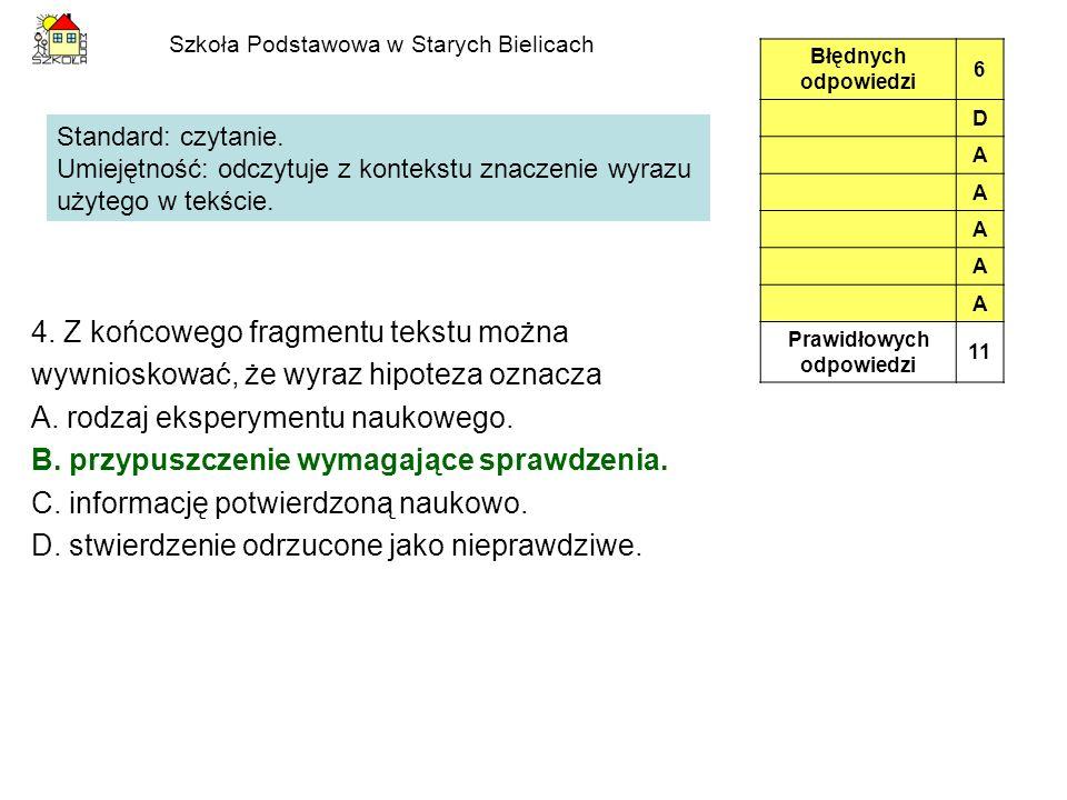 Szkoła Podstawowa w Starych Bielicach Standard: pisanie.
