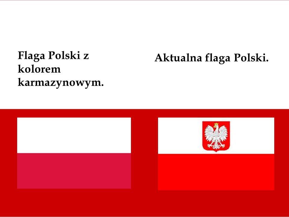 Flaga Polski z kolorem karmazynowym. Aktualna flaga Polski.
