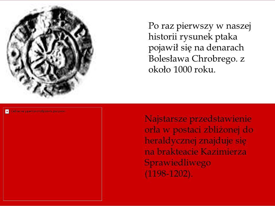 Po raz pierwszy w naszej historii rysunek ptaka pojawił się na denarach Bolesława Chrobrego. z około 1000 roku. Najstarsze przedstawienie orła w posta