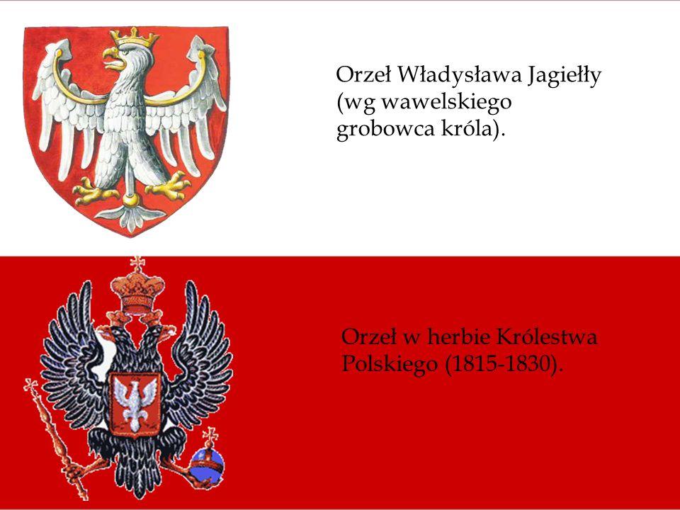 Orzeł Władysława Jagiełły (wg wawelskiego grobowca króla). Orzeł w herbie Królestwa Polskiego (1815-1830).