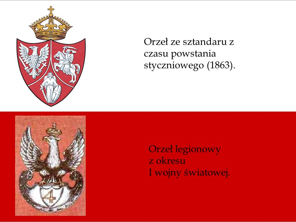 Orzeł ze sztandaru z czasu powstania styczniowego (1863). Orzeł legionowy z okresu I wojny światowej.