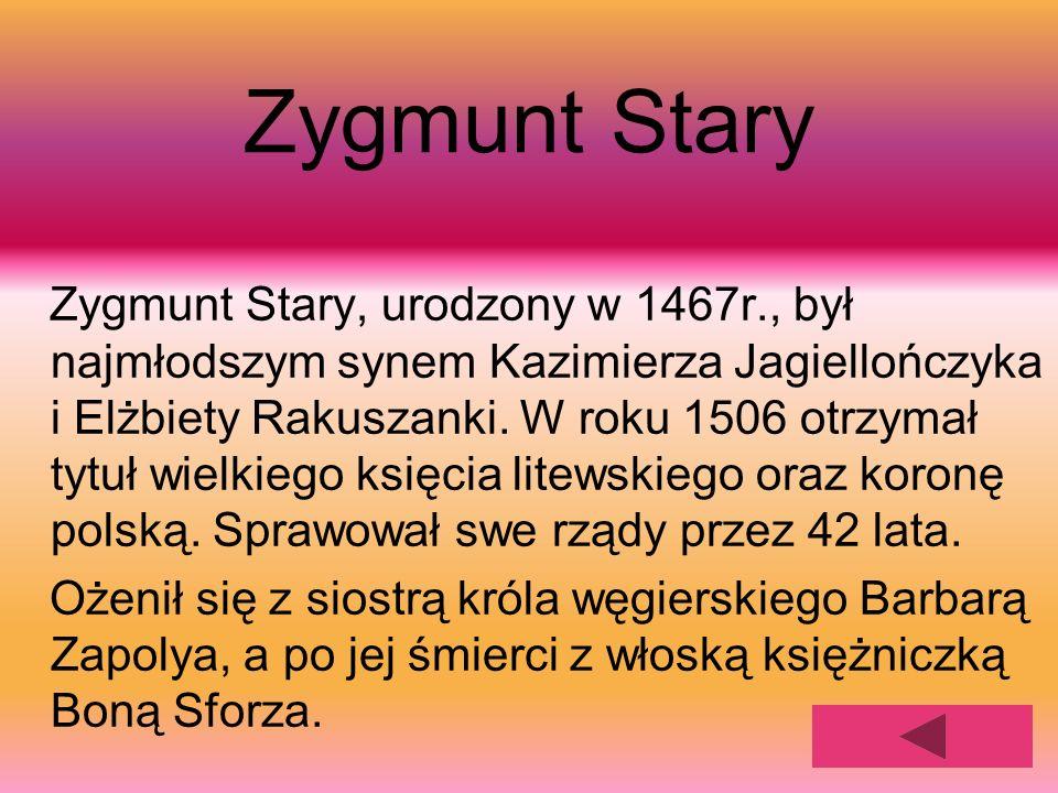 Zygmunt Stary Zygmunt Stary, urodzony w 1467r., był najmłodszym synem Kazimierza Jagiellończyka i Elżbiety Rakuszanki. W roku 1506 otrzymał tytuł wiel