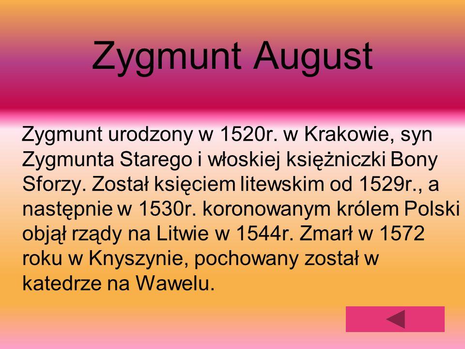 Zygmunt August Zygmunt urodzony w 1520r. w Krakowie, syn Zygmunta Starego i włoskiej księżniczki Bony Sforzy. Został księciem litewskim od 1529r., a n
