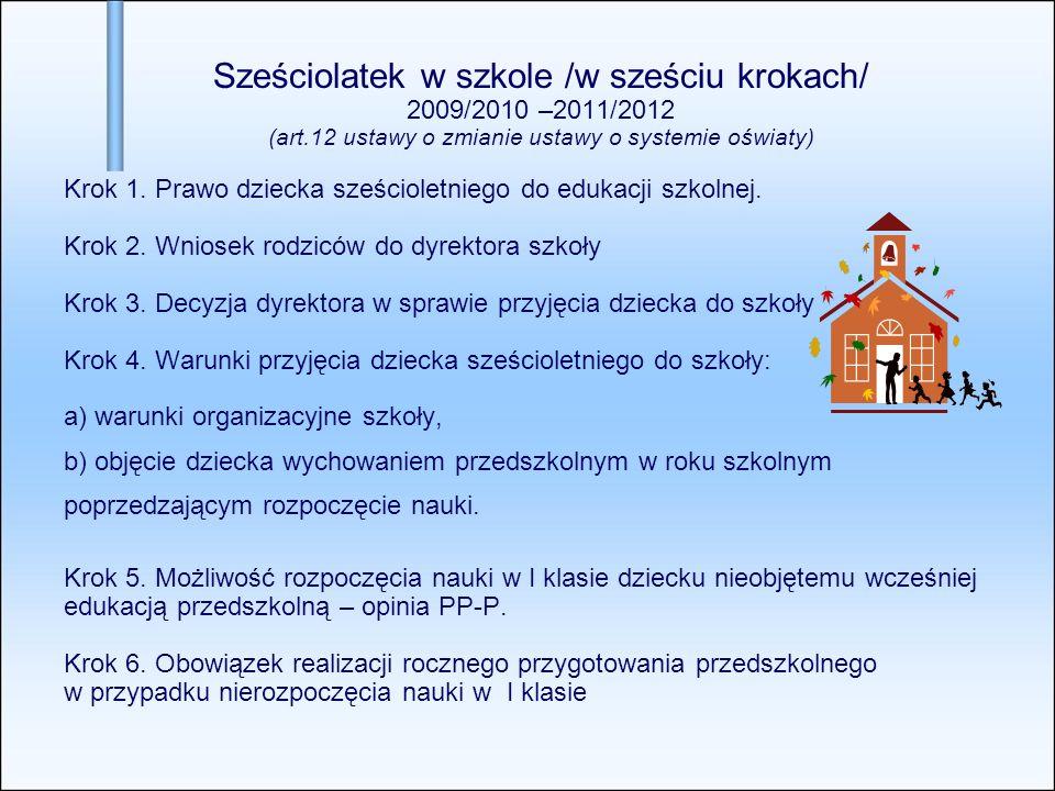Sześciolatek w szkole /w sześciu krokach/ 2009/2010 –2011/2012 (art.12 ustawy o zmianie ustawy o systemie oświaty) Krok 1. Prawo dziecka sześcioletnie