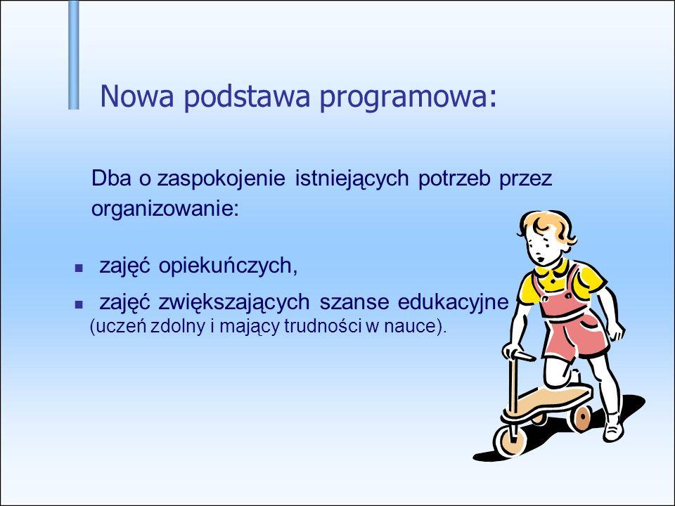 Nowa podstawa programowa: Dba o zaspokojenie istniejących potrzeb przez organizowanie: zajęć opiekuńczych, zajęć zwiększających szanse edukacyjne (uczeń zdolny i mający trudności w nauce).