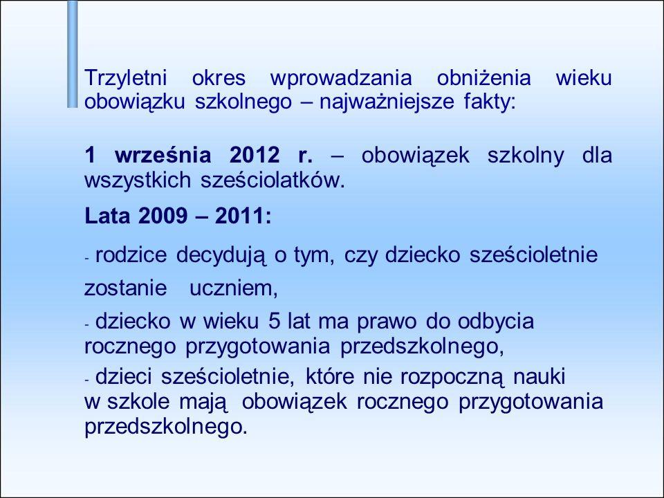 Trzyletni okres wprowadzania obniżenia wieku obowiązku szkolnego – najważniejsze fakty: 1 września 2012 r.