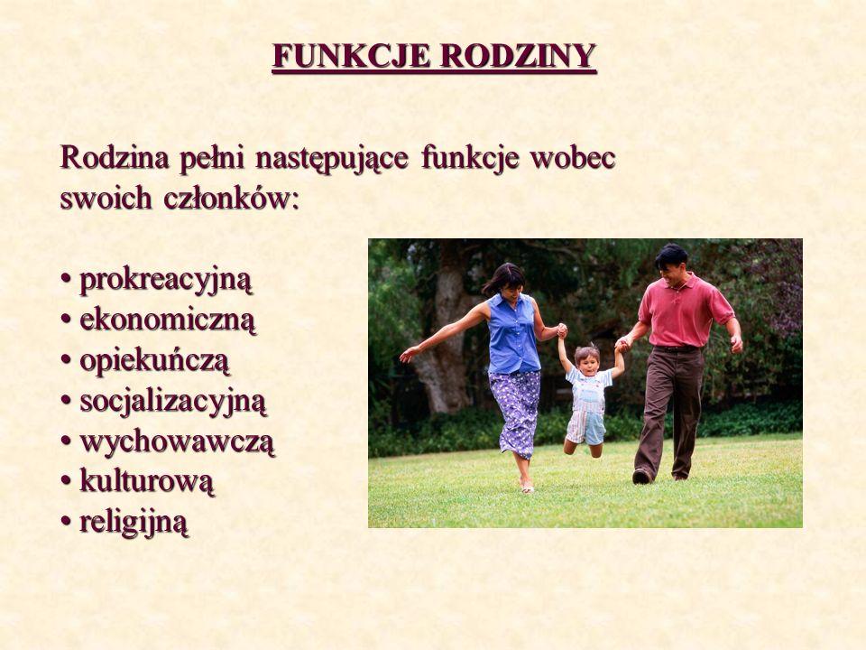 FUNKCJE RODZINY Rodzina pełni następujące funkcje wobec swoich członków: prokreacyjną prokreacyjną ekonomiczną ekonomiczną opiekuńczą opiekuńczą socja