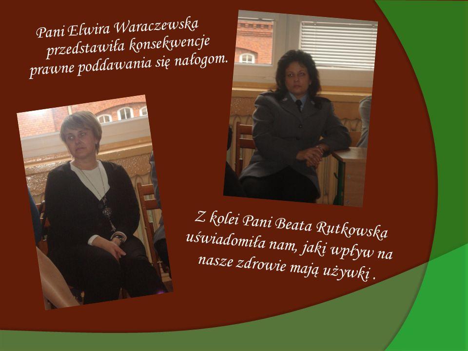 Pani Elwira Waraczewska przedstawiła konsekwencje prawne poddawania się nałogom. Z kolei Pani Beata Rutkowska uświadomiła nam, jaki wpływ na nasze zdr