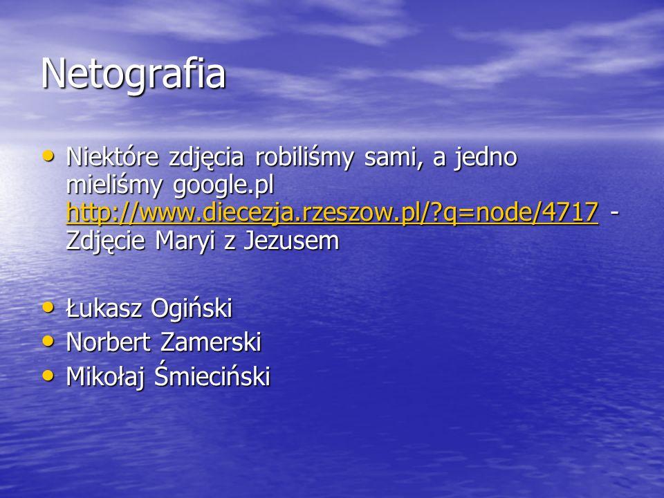 Netografia Niektóre zdjęcia robiliśmy sami, a jedno mieliśmy google.pl http://www.diecezja.rzeszow.pl/?q=node/4717 - Zdjęcie Maryi z Jezusem Niektóre