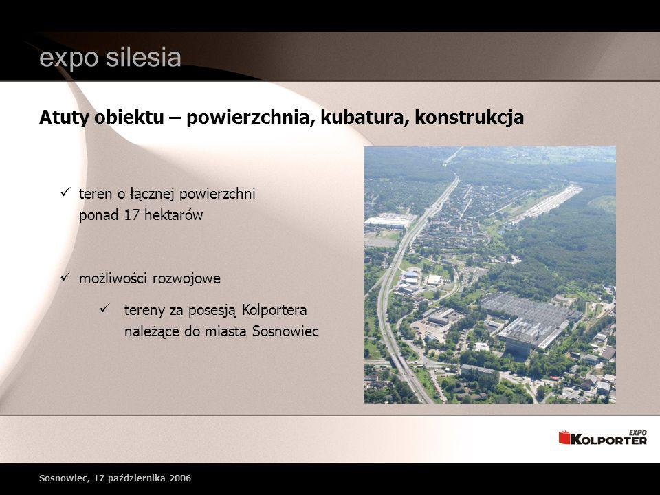 teren o łącznej powierzchni ponad 17 hektarów możliwości rozwojowe tereny za posesją Kolportera należące do miasta Sosnowiec Atuty obiektu – powierzchnia, kubatura, konstrukcja expo silesia Sosnowiec, 17 października 2006