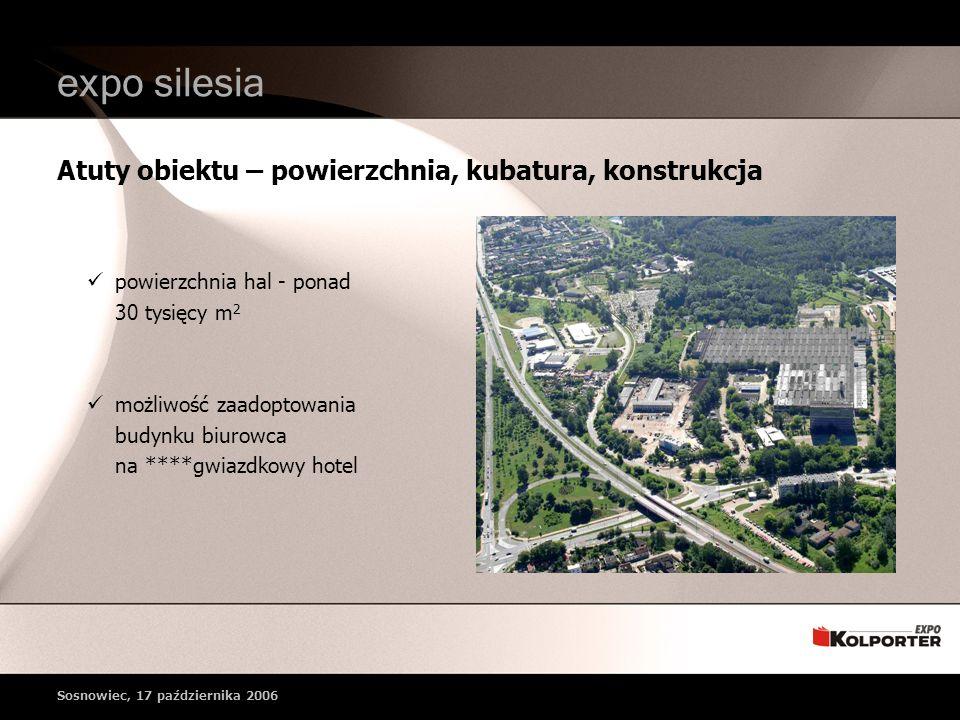 Atuty obiektu – powierzchnia, kubatura, konstrukcja expo silesia powierzchnia hal - ponad 30 tysięcy m 2 możliwość zaadoptowania budynku biurowca na ****gwiazdkowy hotel Sosnowiec, 17 października 2006