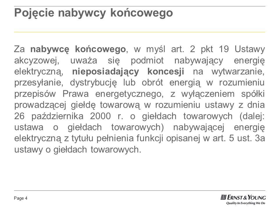 Page 5 Moment powstania obowiązku podatkowego w przypadku zużycia energii elektrycznej przez Spółkę dla własnych celów – z dniem zużycia energii; w przypadku sprzedaży energii elektrycznej na terytorium kraju – z dniem wydania energii nabywcy końcowemu.