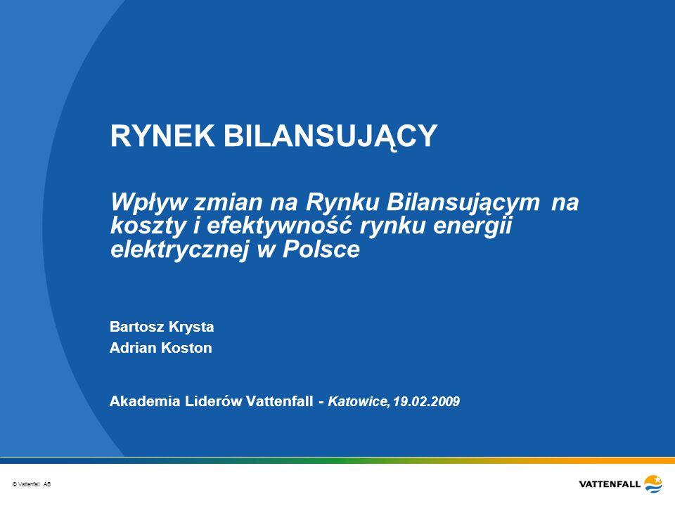 © Vattenfall AB RYNEK BILANSUJĄCY Wpływ zmian na Rynku Bilansującym na koszty i efektywność rynku energii elektrycznej w Polsce Akademia Liderów Vatte