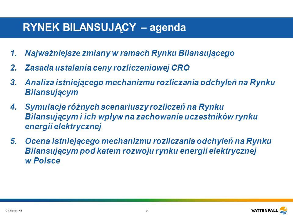 © Vattenfall AB 2 RYNEK BILANSUJĄCY – agenda 1.Najważniejsze zmiany w ramach Rynku Bilansującego 2.Zasada ustalania ceny rozliczeniowej CRO 3.Analiza