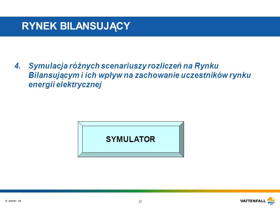 © Vattenfall AB 22 RYNEK BILANSUJĄCY 4.Symulacja różnych scenariuszy rozliczeń na Rynku Bilansującym i ich wpływ na zachowanie uczestników rynku energii elektrycznej SYMULATOR