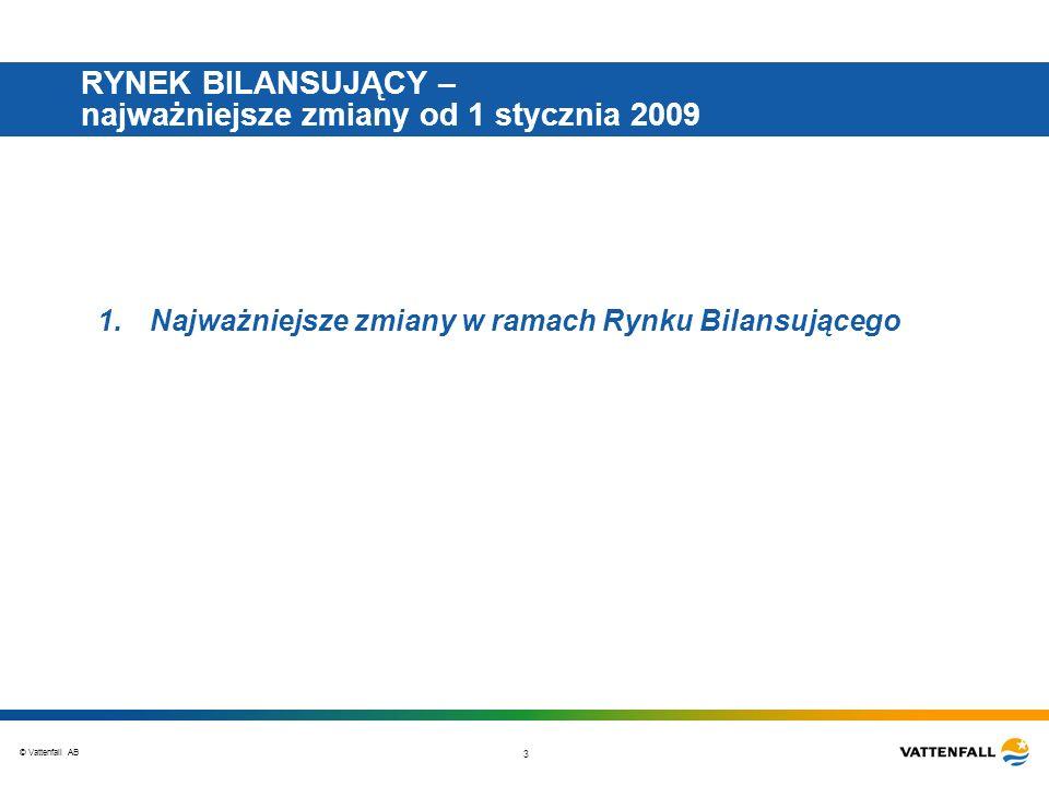 © Vattenfall AB 3 RYNEK BILANSUJĄCY – najważniejsze zmiany od 1 stycznia 2009 1.Najważniejsze zmiany w ramach Rynku Bilansującego
