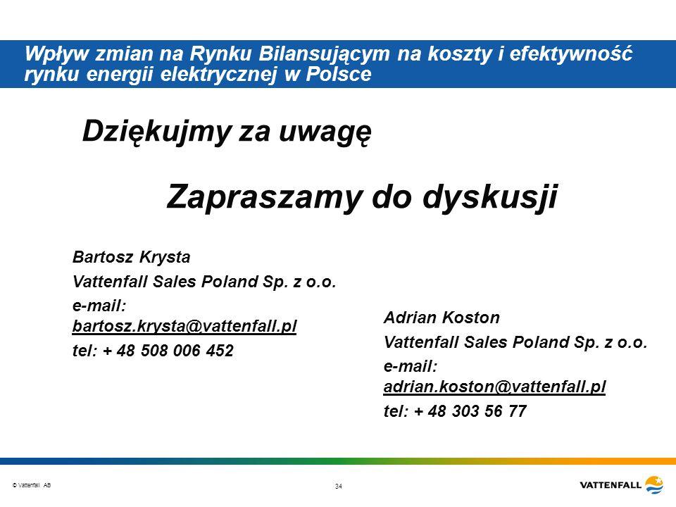 © Vattenfall AB 34 Wpływ zmian na Rynku Bilansującym na koszty i efektywność rynku energii elektrycznej w Polsce Dziękujmy za uwagę Zapraszamy do dyskusji Bartosz Krysta Vattenfall Sales Poland Sp.