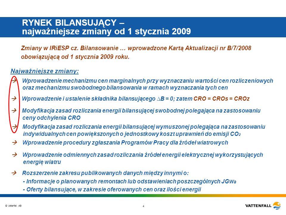 © Vattenfall AB 4 RYNEK BILANSUJĄCY – najważniejsze zmiany od 1 stycznia 2009 Zmiany w IRiESP cz. Bilansowanie … wprowadzone Kartą Aktualizacji nr B/7