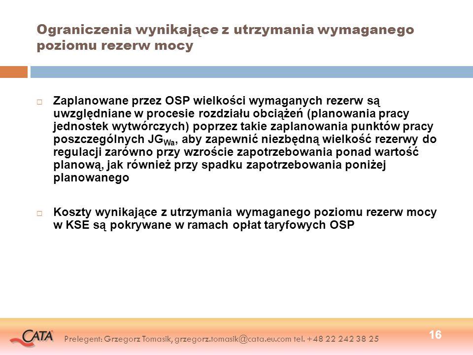 Ograniczenia wynikające z utrzymania wymaganego poziomu rezerw mocy Zaplanowane przez OSP wielkości wymaganych rezerw są uwzględniane w procesie rozdz