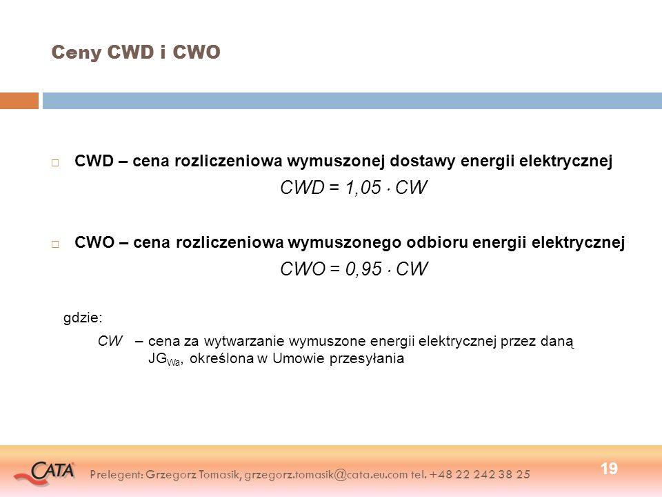 Ceny CWD i CWO CWD – cena rozliczeniowa wymuszonej dostawy energii elektrycznej CWD = 1,05 CW CWO – cena rozliczeniowa wymuszonego odbioru energii elektrycznej CWO = 0,95 CW gdzie: CW–cena za wytwarzanie wymuszone energii elektrycznej przez daną JG Wa, określona w Umowie przesyłania 19 Prelegent: Grzegorz Tomasik, grzegorz.tomasik@cata.eu.com tel.