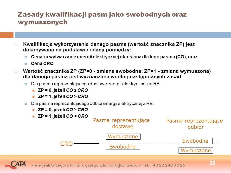 Zasady kwalifikacji pasm jako swobodnych oraz wymuszonych Kwalifikacja wykorzystania danego pasma (wartość znacznika ZP) jest dokonywana na podstawie relacji pomiędzy: Ceną za wytwarzanie energii elektrycznej określoną dla tego pasma (CO), oraz Ceną CRO Wartość znacznika ZP (ZP=0 - zmiana swobodna; ZP=1 - zmiana wymuszona) dla danego pasma jest wyznaczana według następujących zasad: Dla pasma reprezentującego dostawę energii elektrycznej na RB: ZP = 0, jeżeli CO CRO ZP = 1, jeżeli CO > CRO Dla pasma reprezentującego odbiór energii elektrycznej z RB: ZP = 0, jeżeli CO CRO ZP = 1, jeżeli CO < CRO 20 Wymuszone Swobodne CRO Swobodne Wymuszone Pasma reprezentujące dostawę Pasma reprezentujące odbiór Prelegent: Grzegorz Tomasik, grzegorz.tomasik@cata.eu.com tel.