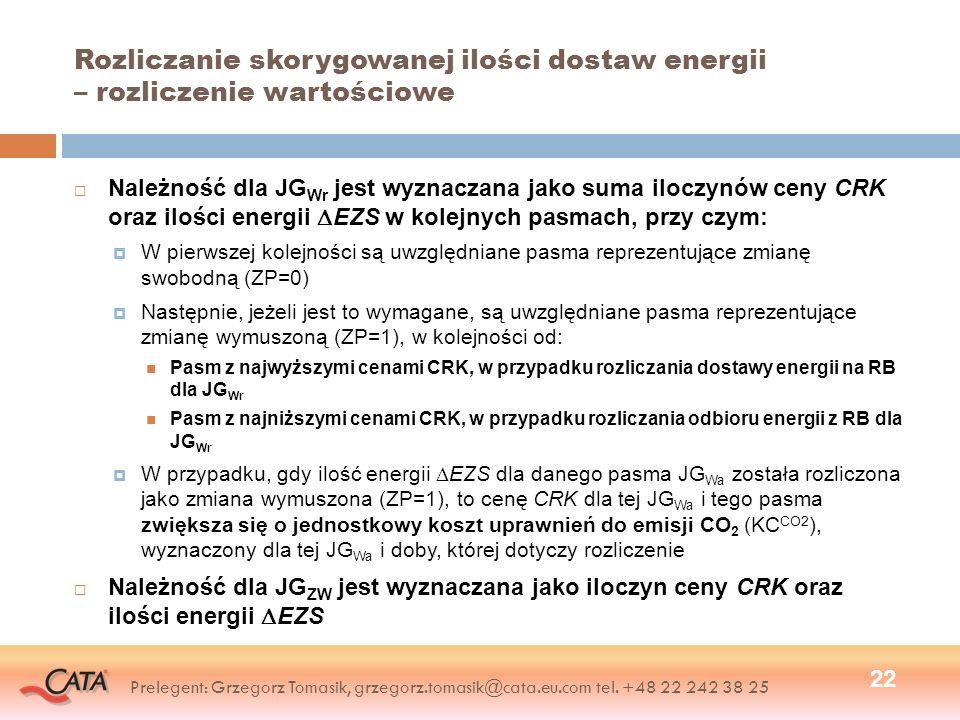 Rozliczanie skorygowanej ilości dostaw energii – rozliczenie wartościowe Należność dla JG Wr jest wyznaczana jako suma iloczynów ceny CRK oraz ilości energii EZS w kolejnych pasmach, przy czym: W pierwszej kolejności są uwzględniane pasma reprezentujące zmianę swobodną (ZP=0) Następnie, jeżeli jest to wymagane, są uwzględniane pasma reprezentujące zmianę wymuszoną (ZP=1), w kolejności od: Pasm z najwyższymi cenami CRK, w przypadku rozliczania dostawy energii na RB dla JG Wr Pasm z najniższymi cenami CRK, w przypadku rozliczania odbioru energii z RB dla JG Wr W przypadku, gdy ilość energii EZS dla danego pasma JG Wa została rozliczona jako zmiana wymuszona (ZP=1), to cenę CRK dla tej JG Wa i tego pasma zwiększa się o jednostkowy koszt uprawnień do emisji CO 2 (KC CO2 ), wyznaczony dla tej JG Wa i doby, której dotyczy rozliczenie Należność dla JG ZW jest wyznaczana jako iloczyn ceny CRK oraz ilości energii EZS 22 Prelegent: Grzegorz Tomasik, grzegorz.tomasik@cata.eu.com tel.