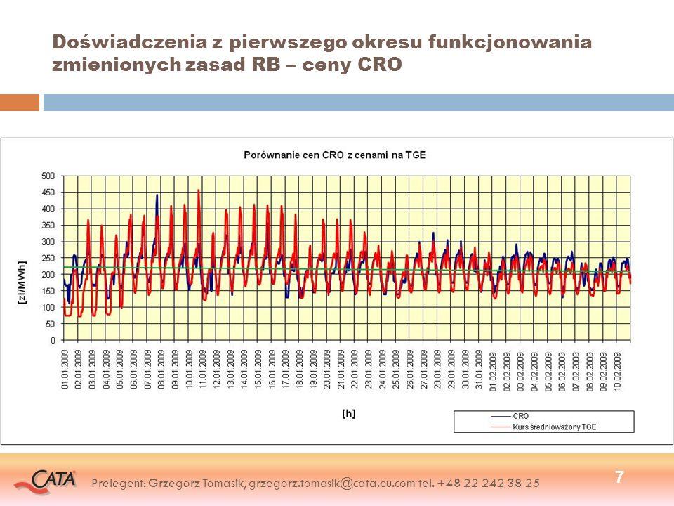 Doświadczenia z pierwszego okresu funkcjonowania zmienionych zasad RB – ceny CRO 7 Prelegent: Grzegorz Tomasik, grzegorz.tomasik@cata.eu.com tel. +48
