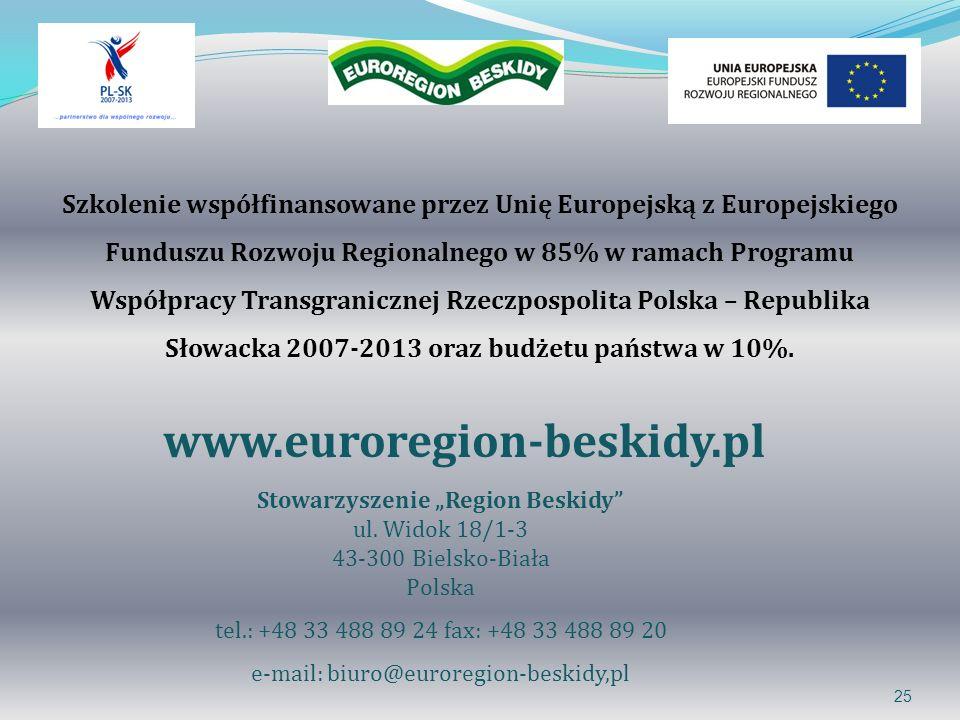 25 www.euroregion-beskidy.pl Stowarzyszenie Region Beskidy ul. Widok 18/1-3 43-300 Bielsko-Biała Polska tel.: +48 33 488 89 24 fax: +48 33 488 89 20 e