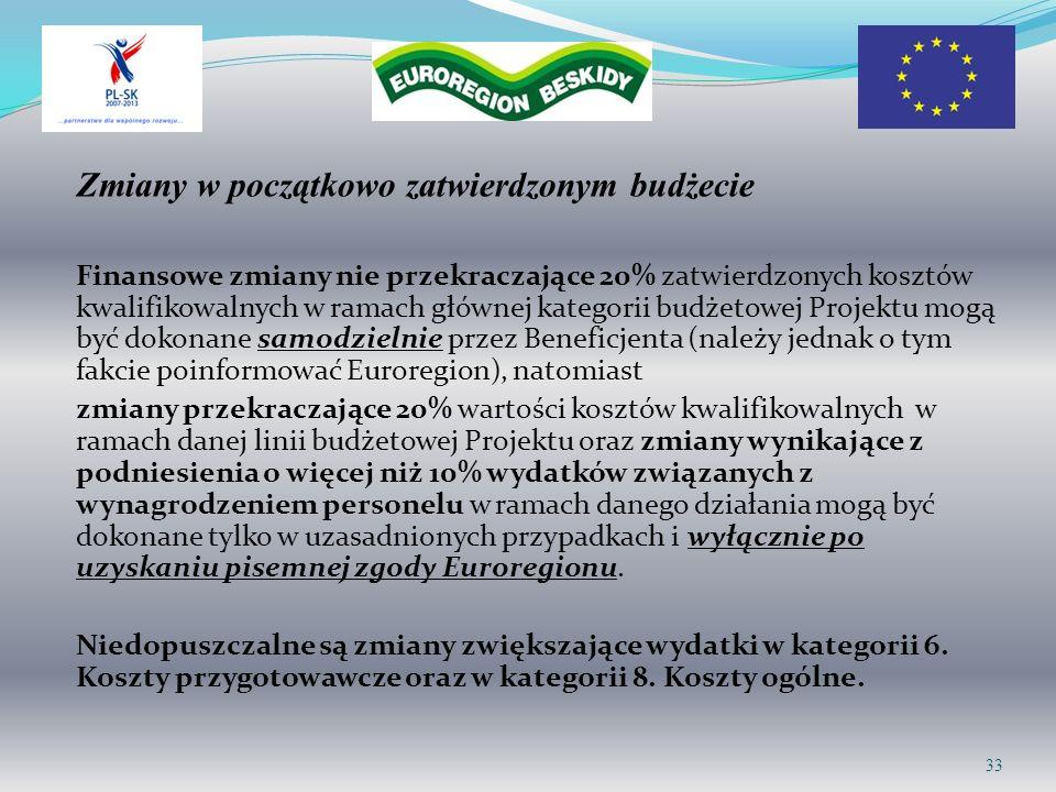 Zmiany w początkowo zatwierdzonym budżecie Finansowe zmiany nie przekraczające 20% zatwierdzonych kosztów kwalifikowalnych w ramach głównej kategorii budżetowej Projektu mogą być dokonane samodzielnie przez Beneficjenta (należy jednak o tym fakcie poinformować Euroregion), natomiast zmiany przekraczające 20% wartości kosztów kwalifikowalnych w ramach danej linii budżetowej Projektu oraz zmiany wynikające z podniesienia o więcej niż 10% wydatków związanych z wynagrodzeniem personelu w ramach danego działania mogą być dokonane tylko w uzasadnionych przypadkach i wyłącznie po uzyskaniu pisemnej zgody Euroregionu.