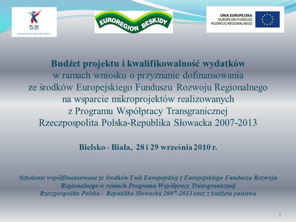 Budżet projektu i kwalifikowalność wydatków w ramach wniosku o przyznanie dofinansowania ze środków Europejskiego Funduszu Rozwoju Regionalnego na wsp