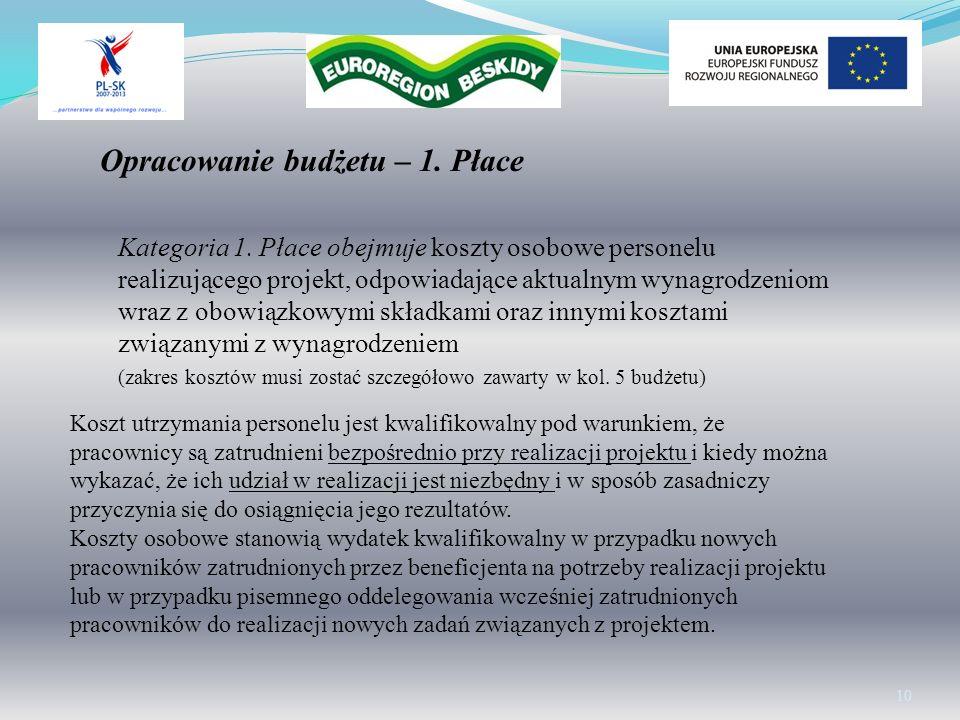 Kategoria 1. Płace obejmuje koszty osobowe personelu realizującego projekt, odpowiadające aktualnym wynagrodzeniom wraz z obowiązkowymi składkami oraz