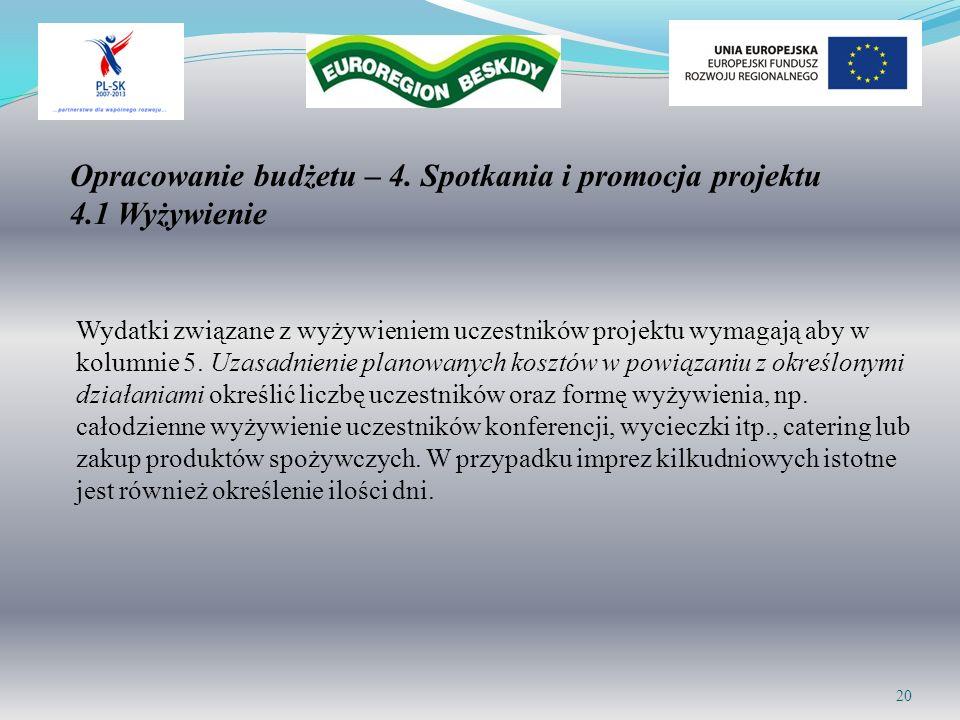 Opracowanie budżetu – 4. Spotkania i promocja projektu 4.1 Wyżywienie Wydatki związane z wyżywieniem uczestników projektu wymagają aby w kolumnie 5. U