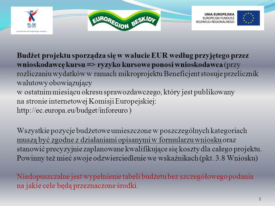Budżet projektu sporządza się w walucie EUR według przyjętego przez wnioskodawcę kursu => ryzyko kursowe ponosi wnioskodawca (przy rozliczaniu wydatkó