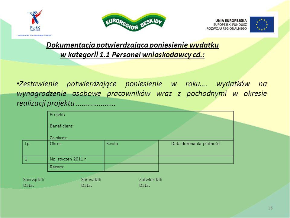 16 Projekt: Beneficjent: Za okres: Lp.OkresKwotaData dokonania płatności 1Np. styczeń 2011 r. Razem: Zestawienie potwierdzające poniesienie w roku…. w