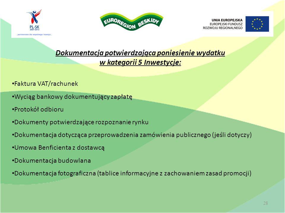 Wolontariat 28 Dokumentacja potwierdzająca poniesienie wydatku w kategorii 5 Inwestycje: Faktura VAT/rachunek Wyciąg bankowy dokumentujący zapłatę Pro