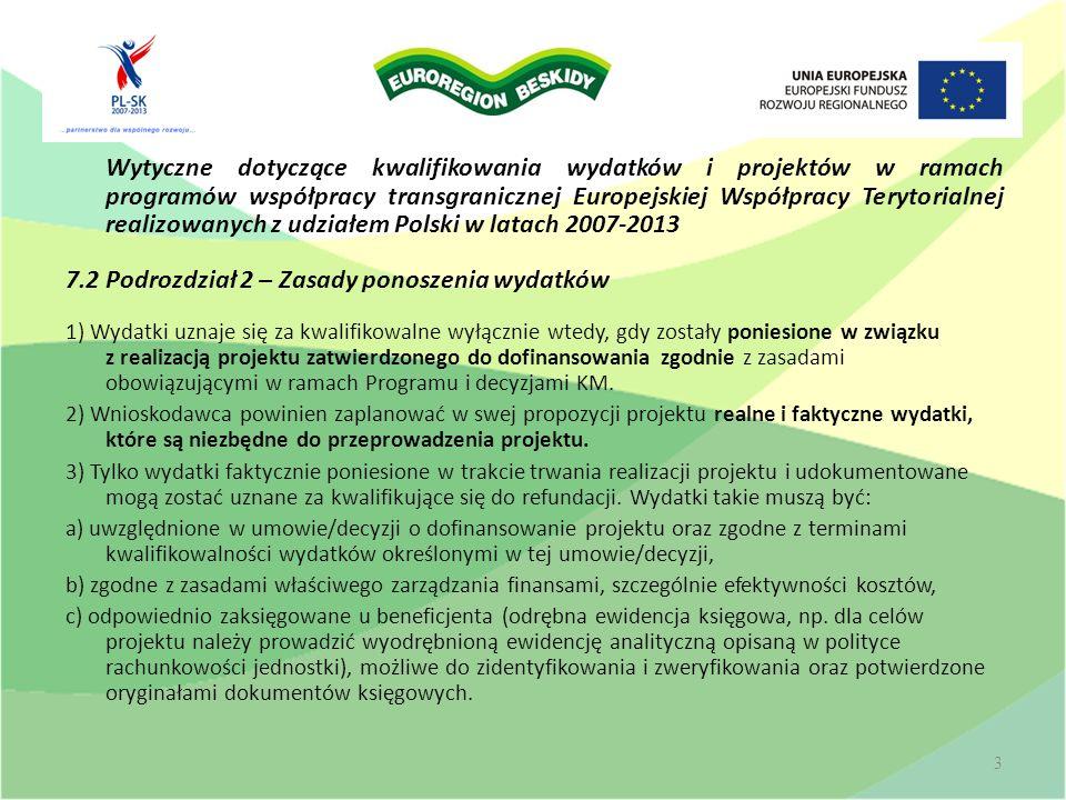 Wytyczne dotyczące kwalifikowania wydatków i projektów w ramach programów współpracy transgranicznej Europejskiej Współpracy Terytorialnej realizowany