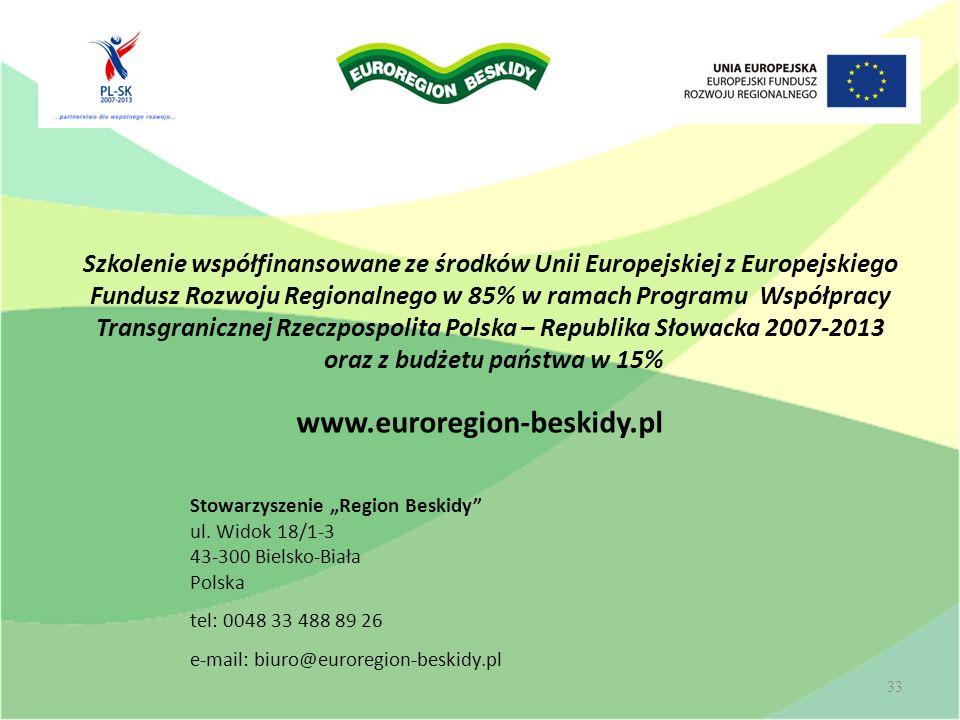 www.euroregion-beskidy.pl Stowarzyszenie Region Beskidy ul. Widok 18/1-3 43-300 Bielsko-Biała Polska tel: 0048 33 488 89 26 e-mail: biuro@euroregion-b