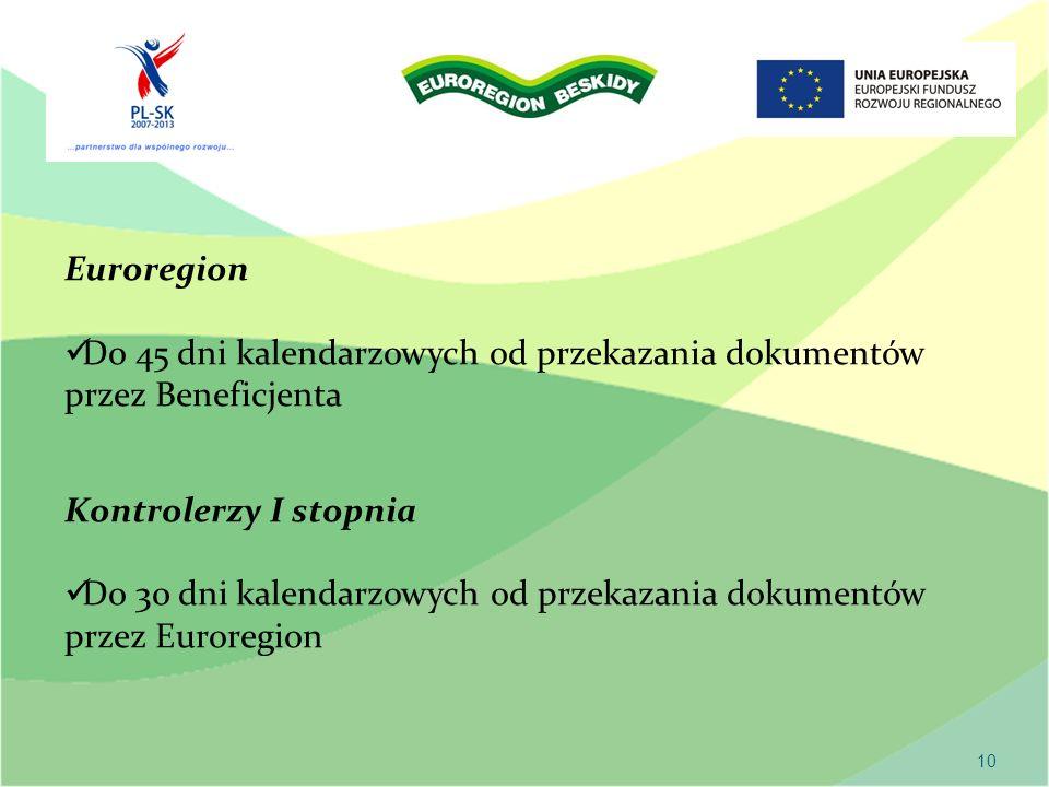 10 Euroregion Do 45 dni kalendarzowych od przekazania dokumentów przez Beneficjenta Kontrolerzy I stopnia Do 30 dni kalendarzowych od przekazania dokumentów przez Euroregion