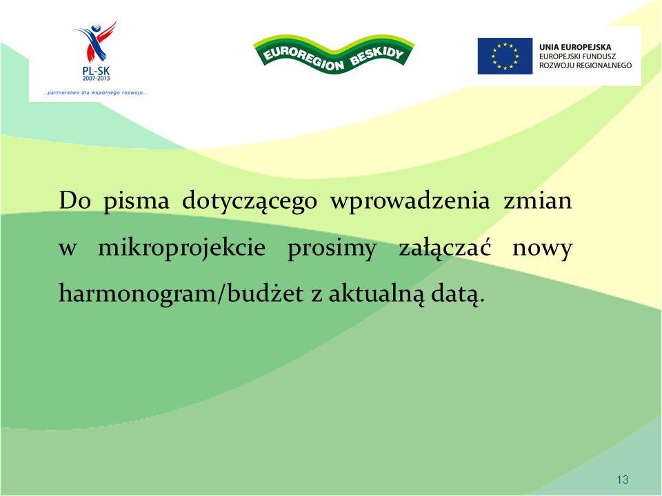 13 Do pisma dotyczącego wprowadzenia zmian w mikroprojekcie prosimy załączać nowy harmonogram/budżet z aktualną datą.