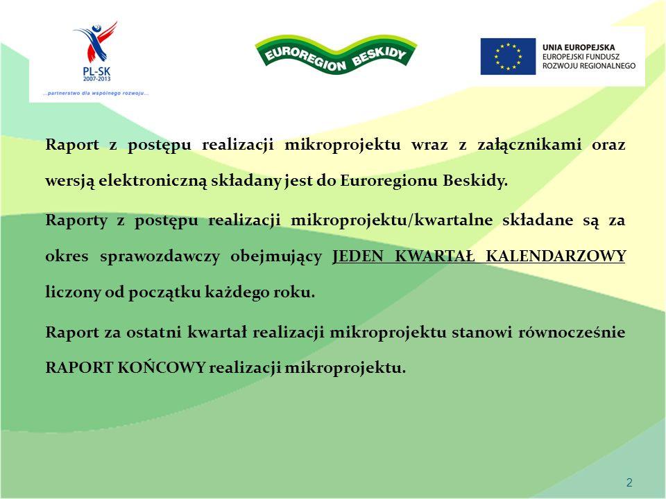 2 Raport z postępu realizacji mikroprojektu wraz z załącznikami oraz wersją elektroniczną składany jest do Euroregionu Beskidy.