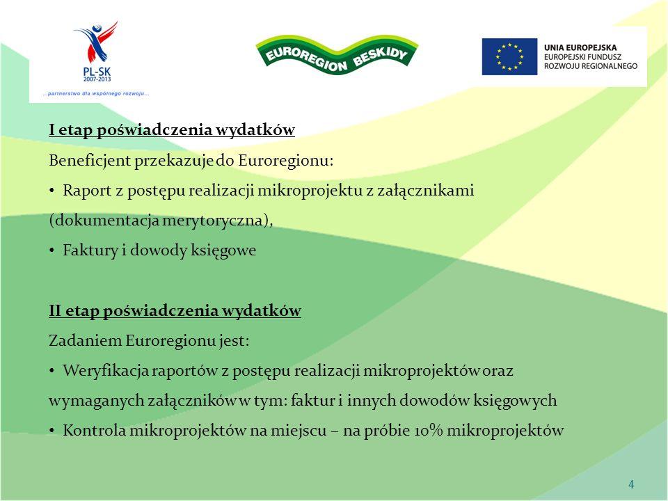 4 I etap poświadczenia wydatków Beneficjent przekazuje do Euroregionu: Raport z postępu realizacji mikroprojektu z załącznikami (dokumentacja merytoryczna), Faktury i dowody księgowe II etap poświadczenia wydatków Zadaniem Euroregionu jest: Weryfikacja raportów z postępu realizacji mikroprojektów oraz wymaganych załączników w tym: faktur i innych dowodów księgowych Kontrola mikroprojektów na miejscu – na próbie 10% mikroprojektów