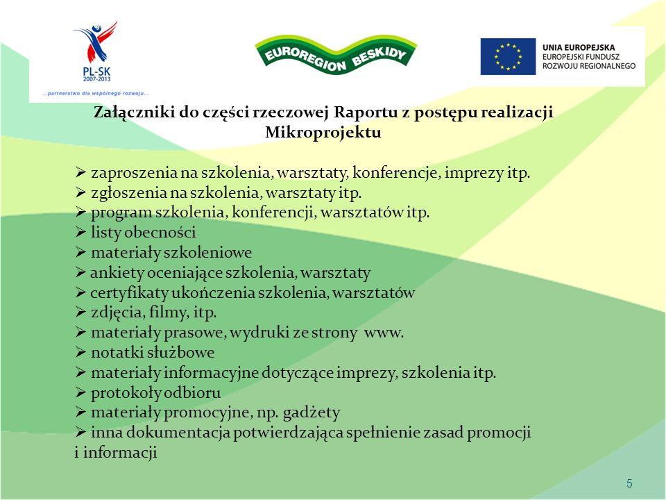 5 Załączniki do części rzeczowej Raportu z postępu realizacji Mikroprojektu zaproszenia na szkolenia, warsztaty, konferencje, imprezy itp.