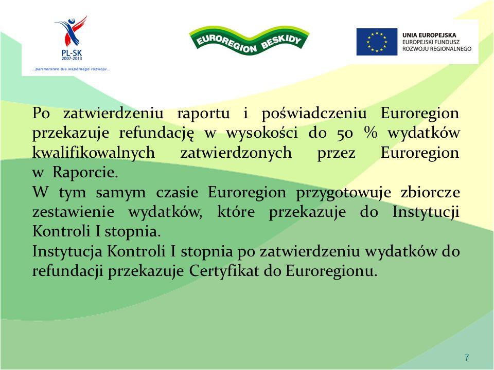 7 Po zatwierdzeniu raportu i poświadczeniu Euroregion przekazuje refundację w wysokości do 50 % wydatków kwalifikowalnych zatwierdzonych przez Euroregion w Raporcie.