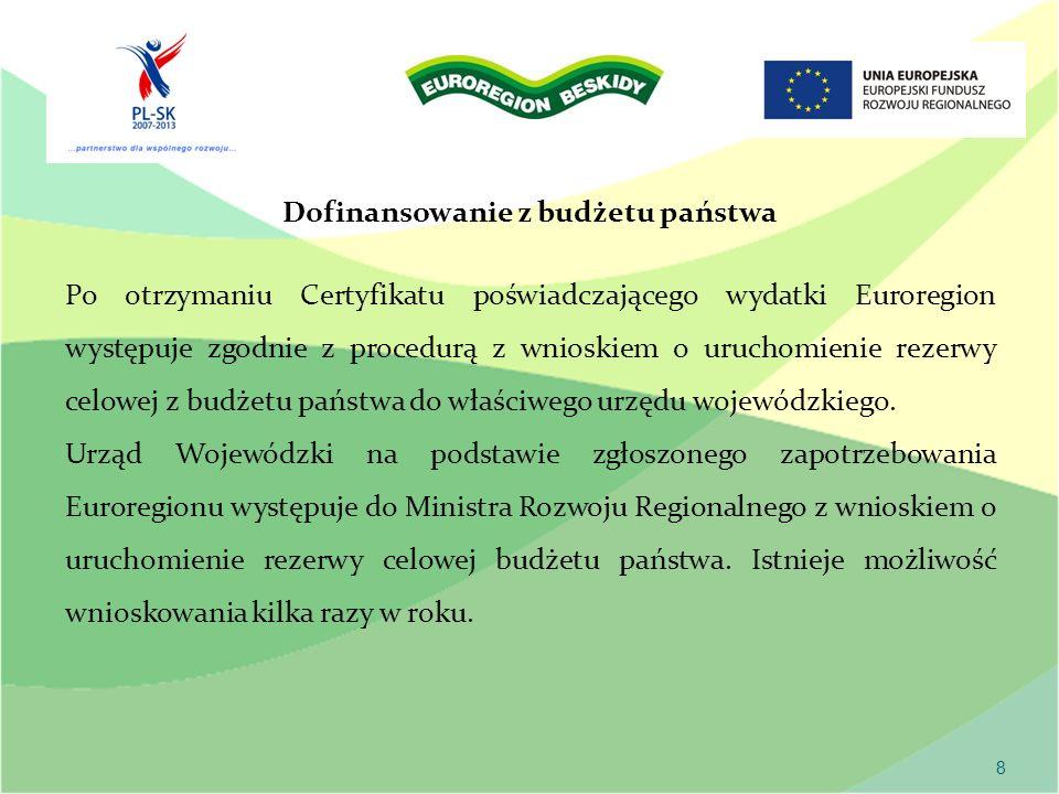 8 Dofinansowanie z budżetu państwa Po otrzymaniu Certyfikatu poświadczającego wydatki Euroregion występuje zgodnie z procedurą z wnioskiem o uruchomienie rezerwy celowej z budżetu państwa do właściwego urzędu wojewódzkiego.