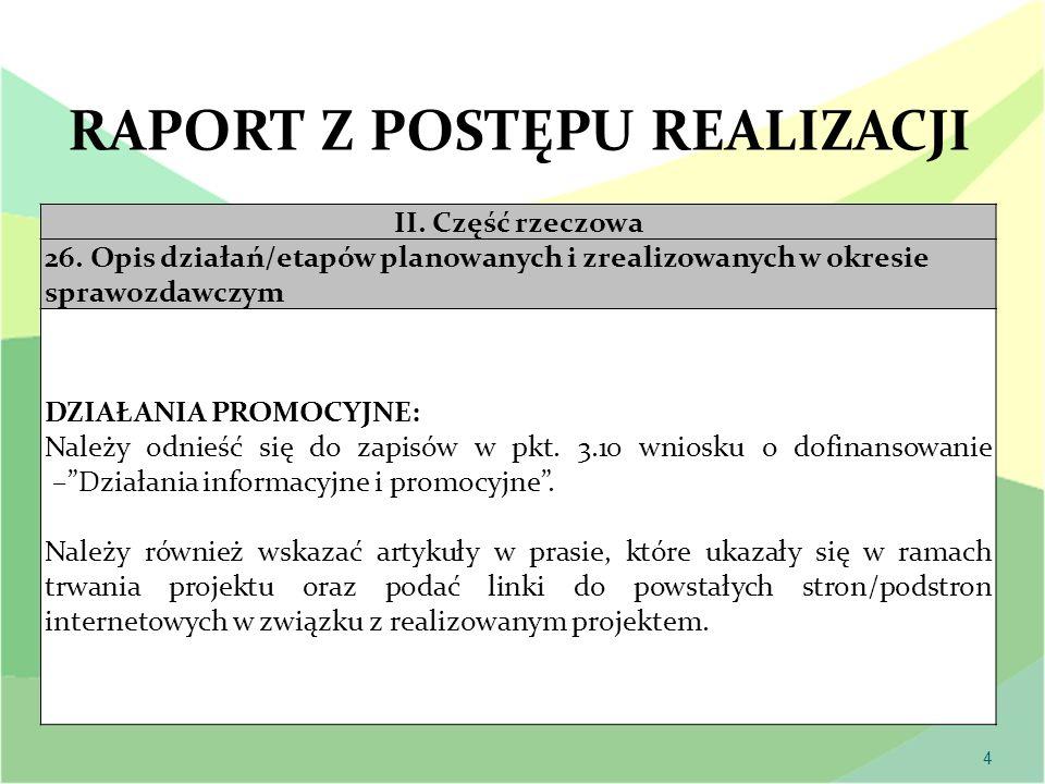 4 II. Część rzeczowa 26. Opis działań/etapów planowanych i zrealizowanych w okresie sprawozdawczym DZIAŁANIA PROMOCYJNE: Należy odnieść się do zapisów