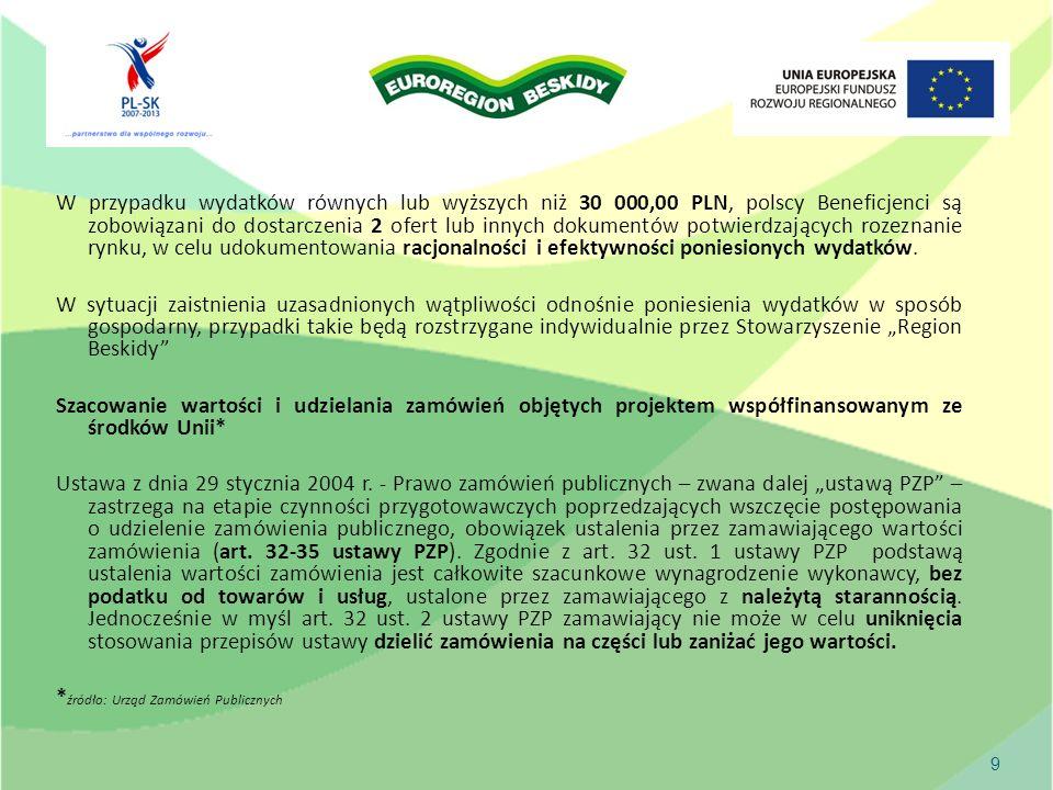W przypadku wydatków równych lub wyższych niż 30 000,00 PLN, polscy Beneficjenci są zobowiązani do dostarczenia 2 ofert lub innych dokumentów potwierdzających rozeznanie rynku, w celu udokumentowania racjonalności i efektywności poniesionych wydatków.