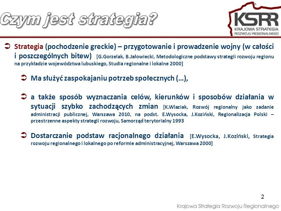 Polityka regionalna jest to świadoma i celowa działalność podmiotów publicznych jest rozumiana jako zespół uporządkowanych działań, zmierzających do realizacji założonych w dokumentach strategicznych celów, podejmowanych w systemie wieloszczeblowego zarządzania (…) [Założenia systemu zarządzania rozwojem Polski, RM, 2009/ KSRR, RM, 2010] Cele KSRR są wspólne i do realizacji przez wszystkie podmioty publiczne na poziomie: Krajowym – interwencja rządu w ramach polityki regionalnej i skoordynowanych polityk sektorowych o silnym wpływie terytorialnym, Regionalnym – interwencja polityki rozwoju prowadzona przez samorząd województwa Realizacja przyjętych zasad – cele są wtórne wobec nich Kto jest adresatem strategii?.