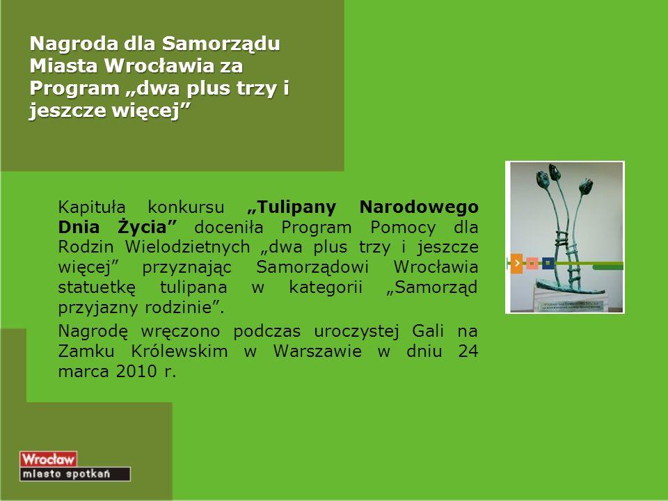 Nagroda dla Samorządu Miasta Wrocławia za Program dwa plus trzy i jeszcze więcej Kapituła konkursu Tulipany Narodowego Dnia Życia doceniła Program Pomocy dla Rodzin Wielodzietnych dwa plus trzy i jeszcze więcej przyznając Samorządowi Wrocławia statuetkę tulipana w kategorii Samorząd przyjazny rodzinie.