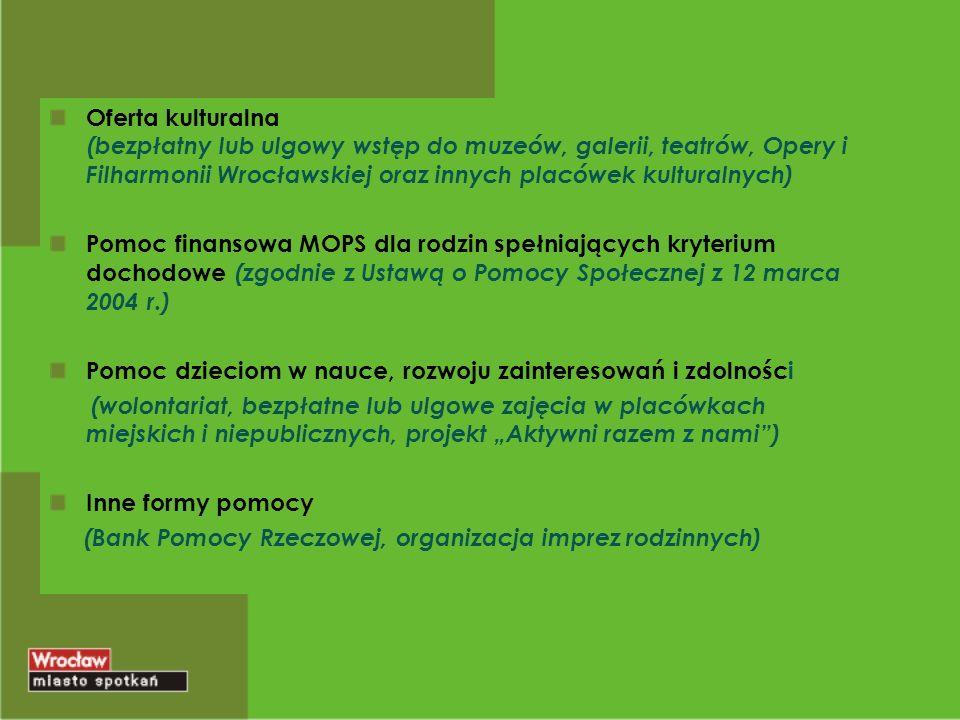 Oferta kulturalna (bezpłatny lub ulgowy wstęp do muzeów, galerii, teatrów, Opery i Filharmonii Wrocławskiej oraz innych placówek kulturalnych) Pomoc finansowa MOPS dla rodzin spełniających kryterium dochodowe (zgodnie z Ustawą o Pomocy Społecznej z 12 marca 2004 r.) Pomoc dzieciom w nauce, rozwoju zainteresowań i zdolności (wolontariat, bezpłatne lub ulgowe zajęcia w placówkach miejskich i niepublicznych, projekt Aktywni razem z nami) Inne formy pomocy (Bank Pomocy Rzeczowej, organizacja imprez rodzinnych)
