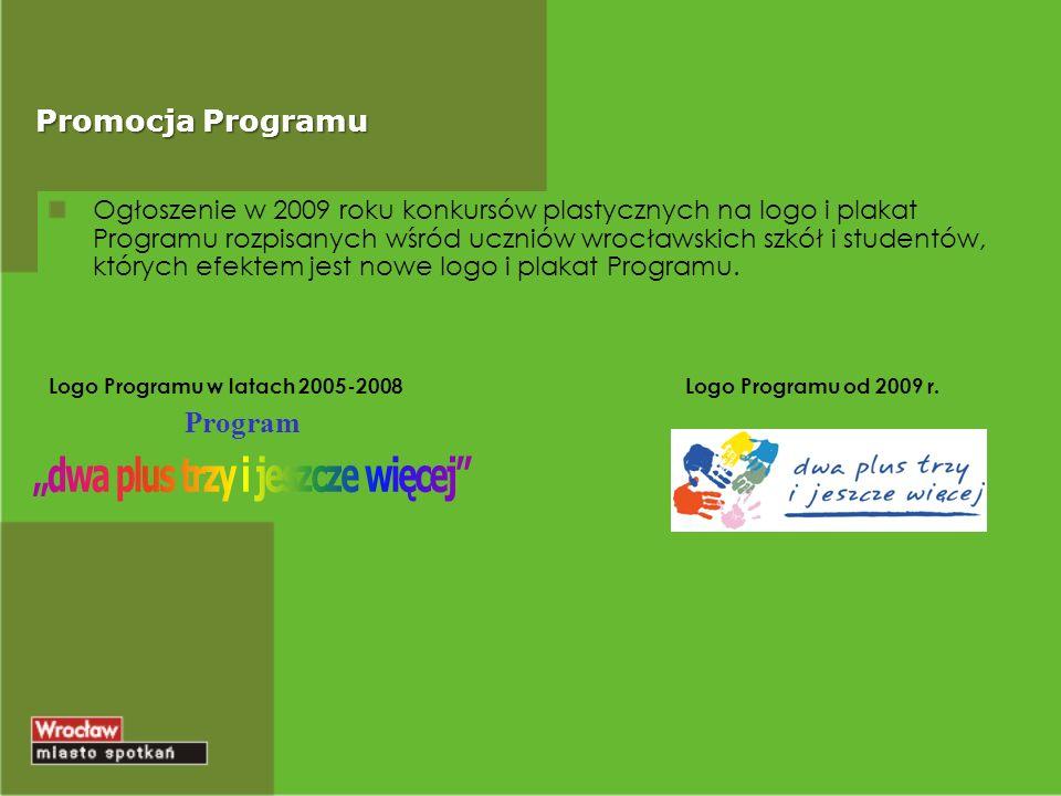 Promocja Programu Ogłoszenie w 2009 roku konkursów plastycznych na logo i plakat Programu rozpisanych wśród uczniów wrocławskich szkół i studentów, których efektem jest nowe logo i plakat Programu.